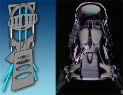QinetiQ Design for Bioflex load carrying chassis and the production backpack from Berghaus