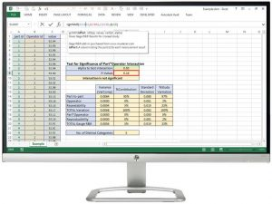 Screenshot of spreadsheet using Gage R&R add-in
