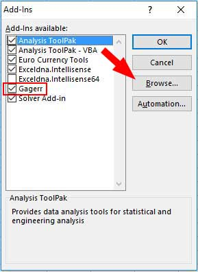Click browse in the add-ins dialogue, select the file you just unzipped and ensure it's checked in the list