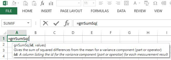 Tooltip help guides you to input your Gage R&R Study data into the Excel function