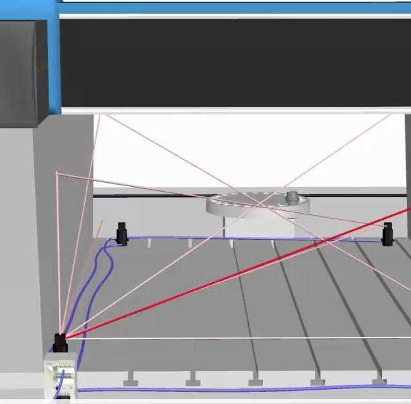 CAD image of large CMM machine with Etalon Multiline lasers projected along axes and diagonals