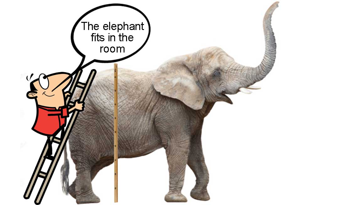 "A man measuring the height of an elephan with a speach caption ""The elephant fits in the room"" despite having missed the elephant's head - illustrating the idea of intrinsic uncertainty"