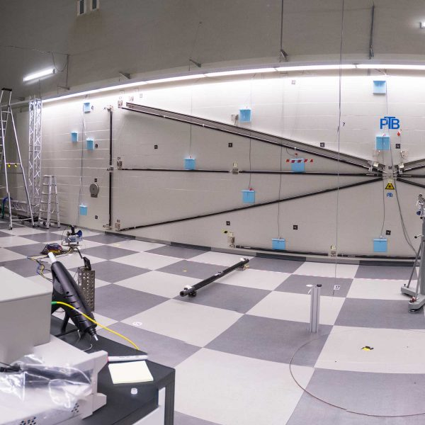 Photo of the Frequency Scanning Interferometry (FSI) system for large volume metrology in the lab at NPL