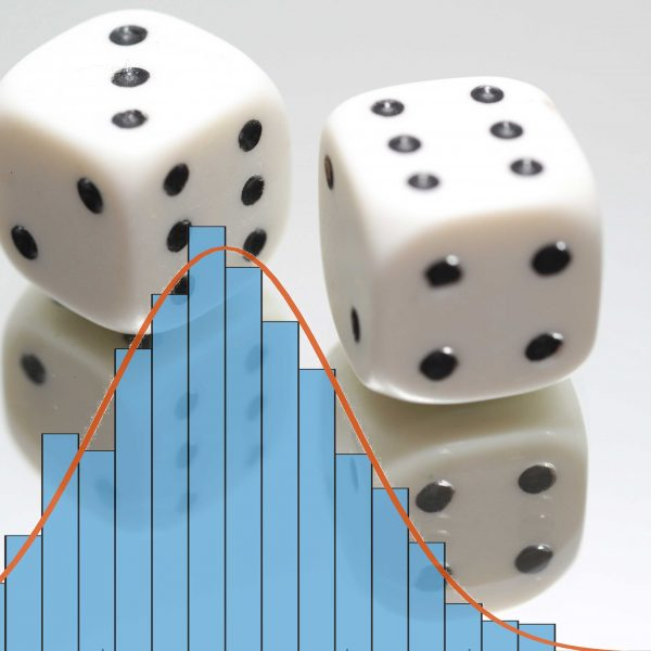 Two dice, representing random number generators, show with a normal distribution histogram