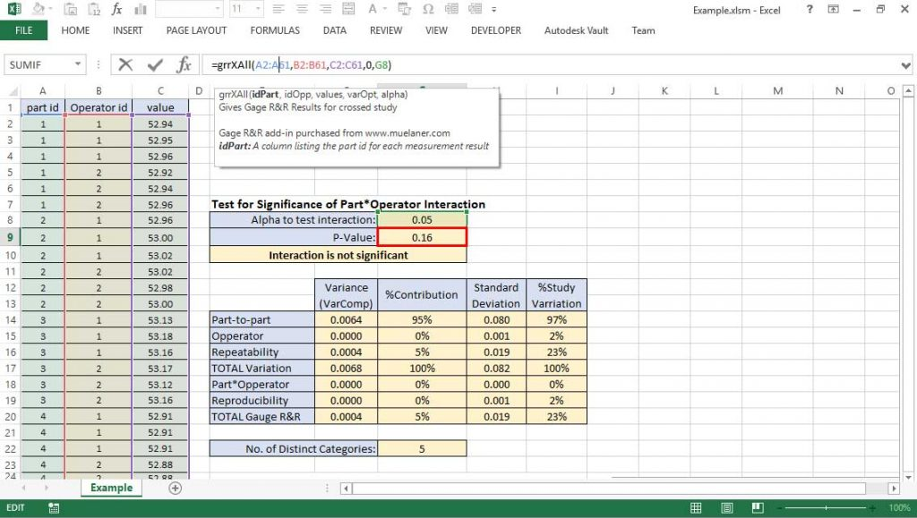 Gage R&R in Excel add-in screenshot